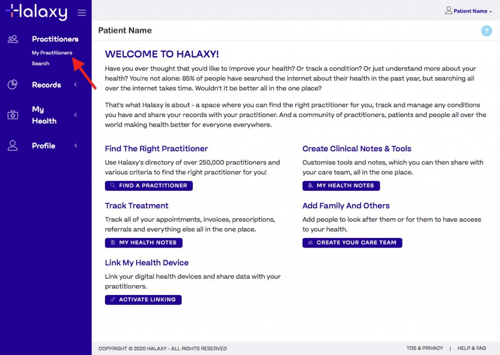 Halaxy patient portal